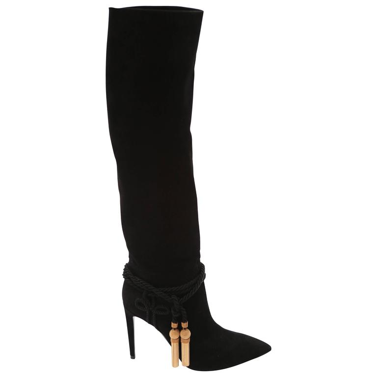 Ralph Lauren Collection Black Suede Boots with Gold Tassel