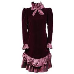 Yves Saint Laurent Haute Couture Velvet and Satin Dress circa 1980s