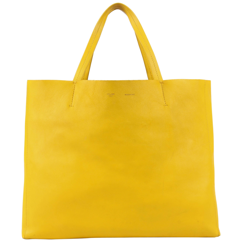 Celine Phantom Canary Yellow Medium Cabas Phantom Tote Bag Handbag Purse