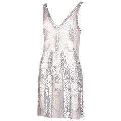 Pierre Balmain Sheer Mini Dress Embellished w/Silver Sequins & Beads