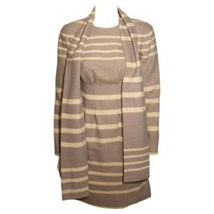 Vintage Pauline Trigere Striped Dress with Scarf