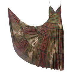 Jean-Paul Gaultier Mesh Plaid Multi-Tiered Maxi Dress W/Digital Face Print