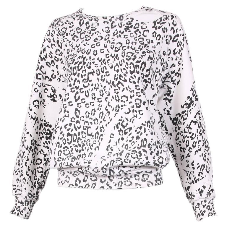 Pierre Balmain Black & White Leopard Print Long Sleeved Scooped Neck Sweatshirt