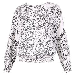 Pierre Balmain Black & White Leopard Print Long Sleeved Scooped Neck Sweatshirt
