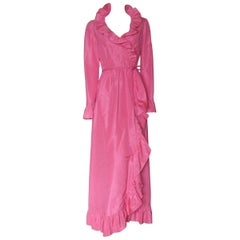 Mollie Parnis Pink Silk Gown Wrap Style with Ruffled Edges and Skirt Slit