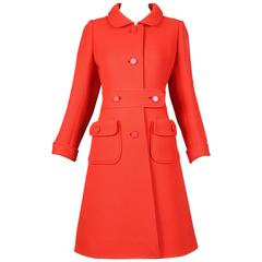 1960's Courreges Haute Couture Orange Wool A-line Mod Coat