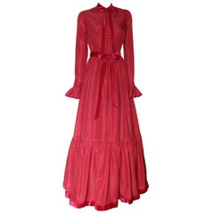Oscar de la Renta Red Silk Taffeta Gown with Tiered Skirt and Ruffled Cuffs