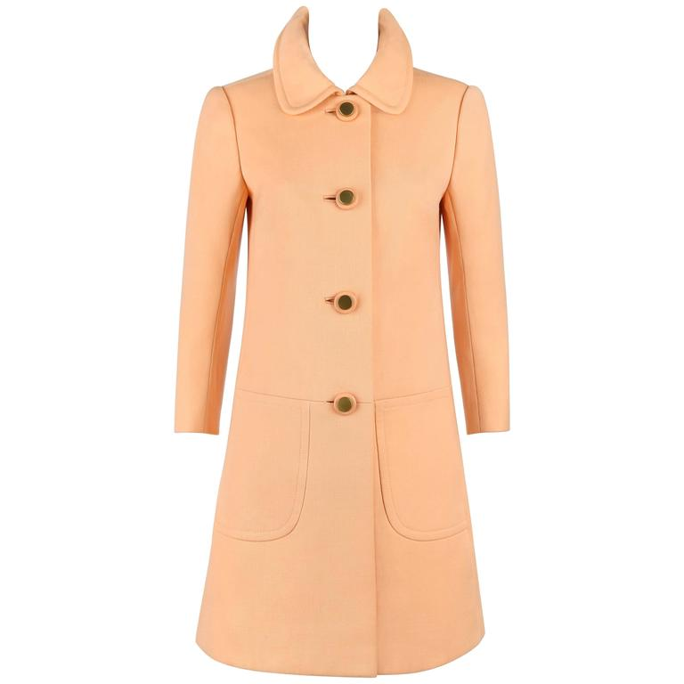 Diorling by CHRISTIAN DIOR c.1960's Peach Wool Button Front Mod Princess Coat