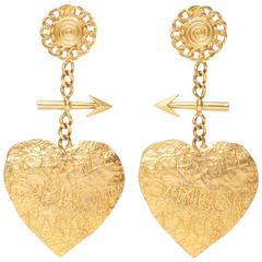 Chanel XXL Graffiti Heart Earrings 1993