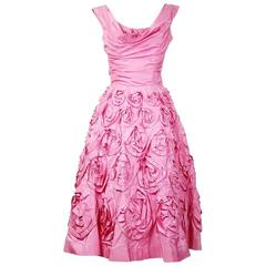 Ceil Chapman Pink Satin Dress circa 1950s