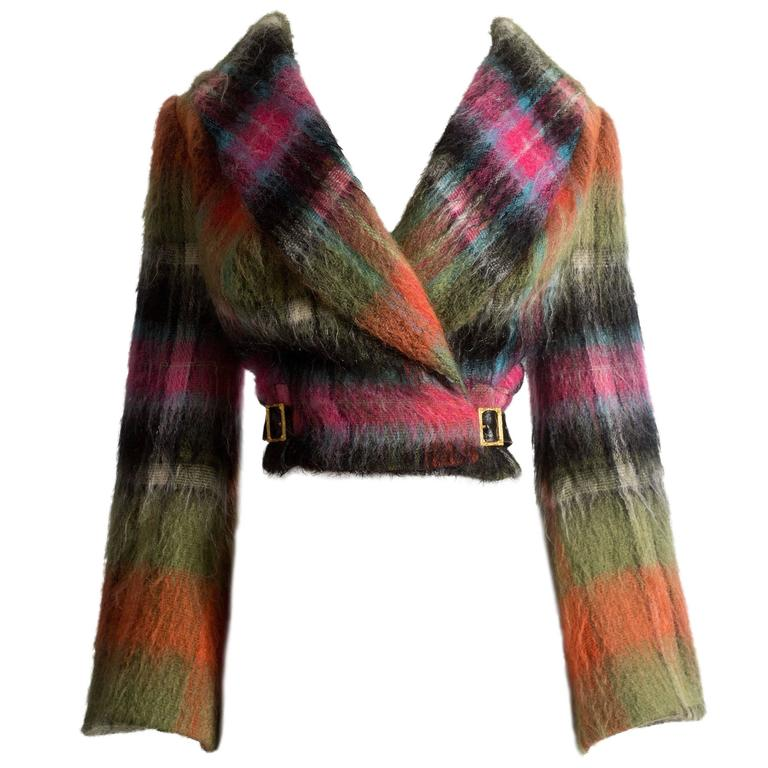 Vivienne Westwood tartan mohair wool jacket, AW 1993 For Sale