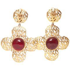 Chanel Gripoix Cross Earrings 1987