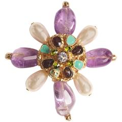 Chanel 2005 Amethyst & Pearl Pendant or Brooch