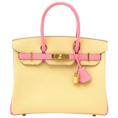 Rare Brand New Hermès Birkin 30 Epsom  Bicolor Jaune Poussin And Rose Confetti
