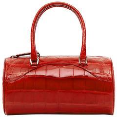Prada Vintage Red Leather Barrel Bag