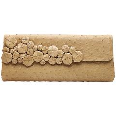 Bottega Veneta Beige Ostrich Leather Clutch Bag