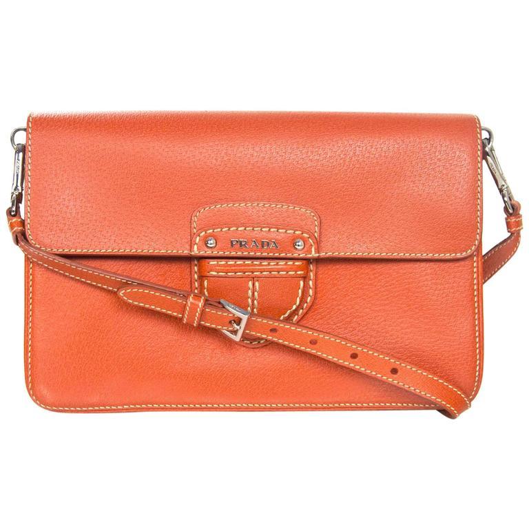 Prada Orange Cinghiale Leather Briefcase Ssc52tg