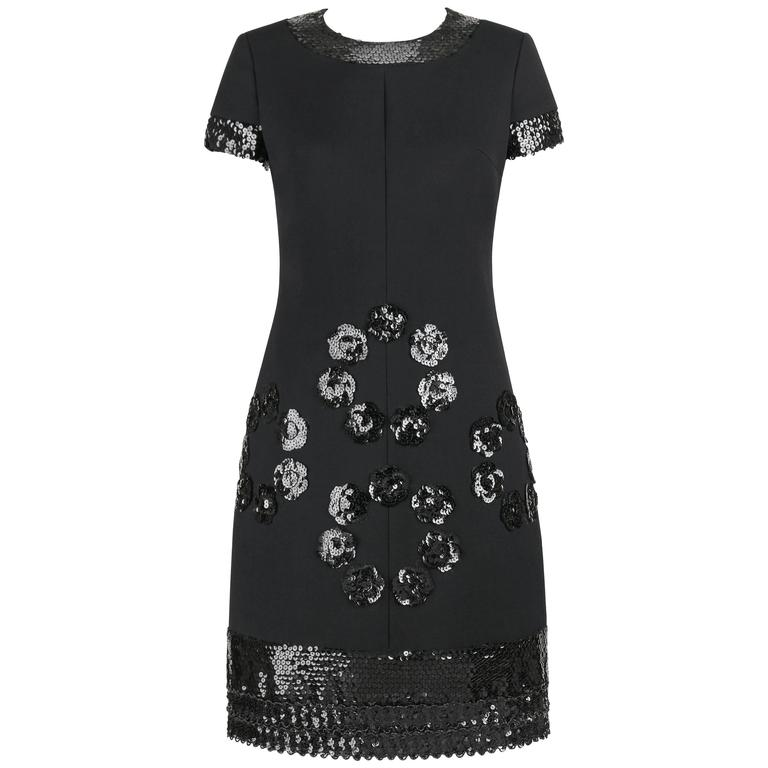 JEAN PATOU c.1960's KARL LAGERFELD Black Sequin Camellia Flower Cocktail Dress