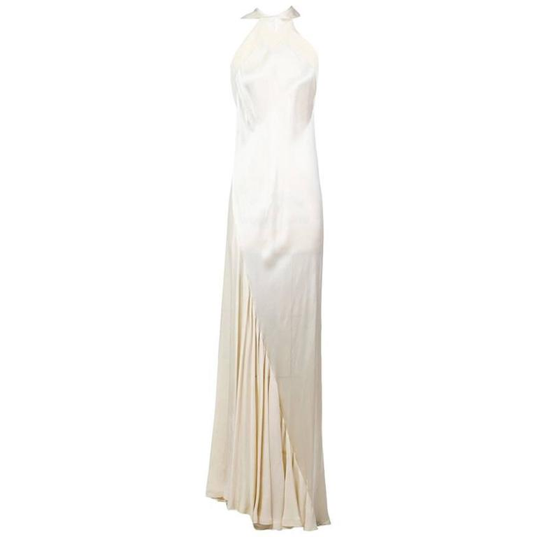 Ossie Clark Satin Crepe Gown with Collar circa late 1960s/early 1970s
