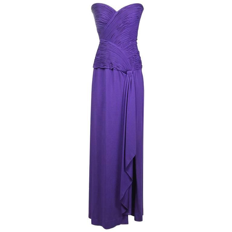 Loris Azzaro Strapless Gown with Ruched Bodice circa 1970s