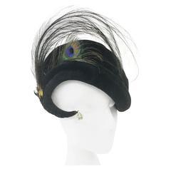 Vintage Ere Nouvelle Rhinestone Velvet Peacock Swirl Hat