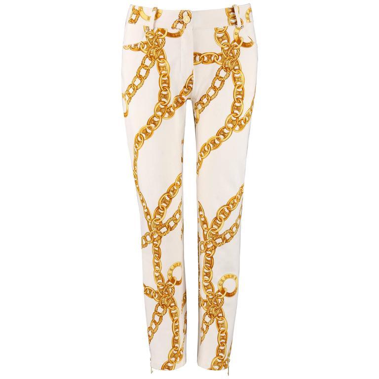 CELINE Spring 2004 MICHAEL KORS Signature Chain Print Cropped Pants 36 1