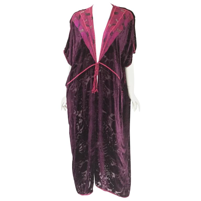 Vintage Thea Porter Couture Purple Silk Burnout Hostess Gown  1