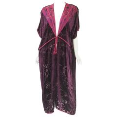 Vintage Thea Porter Couture Purple Silk Burnout Hostess Gown