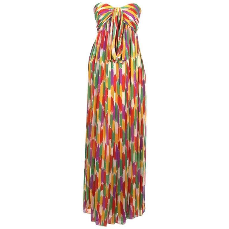Givenchy Nouvelle Boutique Strapless Printed Silk Dress circa 1970s