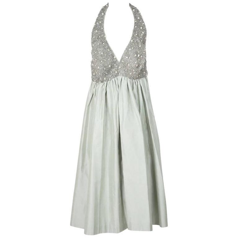 Jacques Fath Embellished Halter Dress with Jacket circa 1980s For Sale