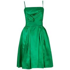 1950's Elegant Emerald-Green Satin Sculpted Rose Applique Dress & Matching Coat