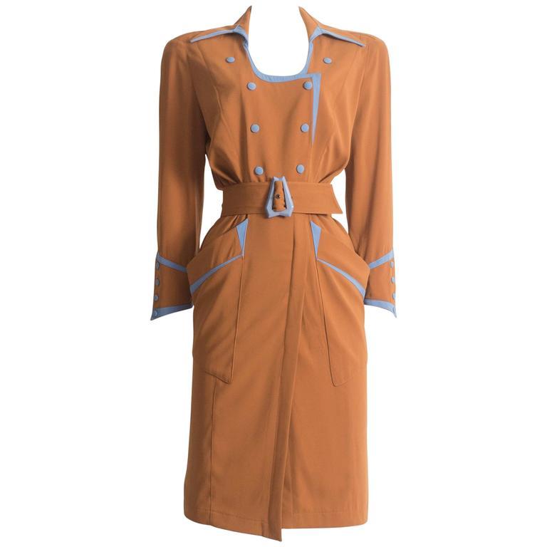 Thierry Mugler mustard gabardine shirt dress, AW 1986 1