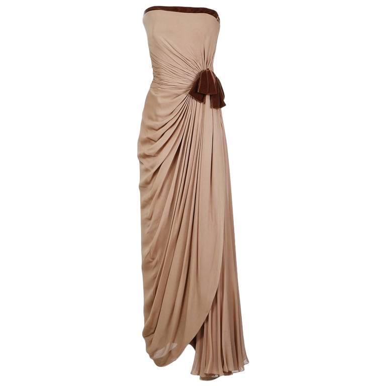 Jean Dessès Haute Couture Strapless Gown with Velvet Trim circa 1950s