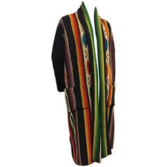 1940s Vivid Hand-Woven Wool Chimayo Robe-Style Duster w Patch Pockets