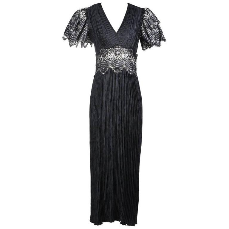 Mary McFadden Pleated Dress with Lace Details circa 1980s