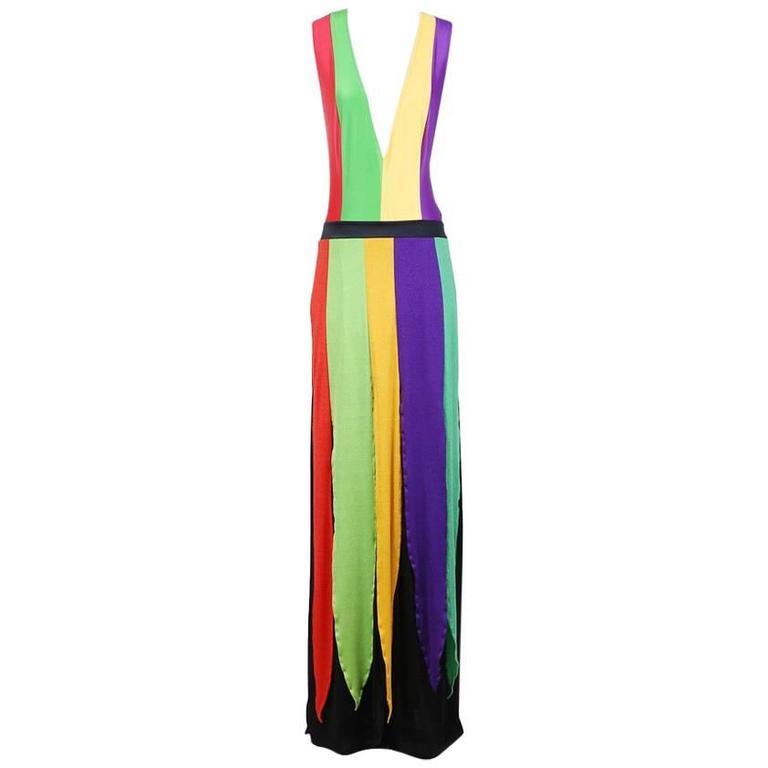Giorgio Sant Angelo Multi Color Sleeveless Jersey Dress circa 1970s