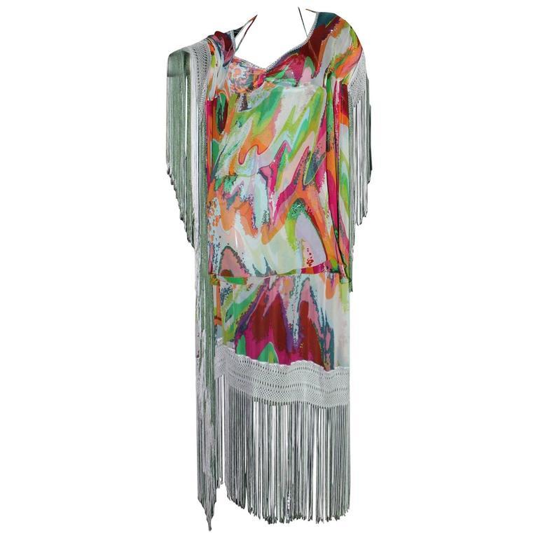 Fringed Missoni Silk Mini Dress with Cape For Sale