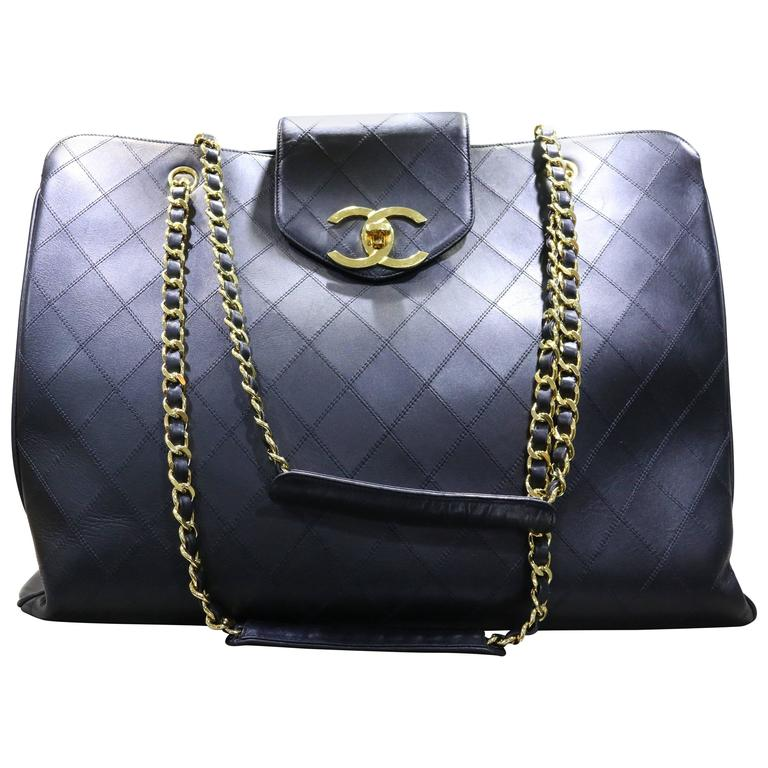 Chanel Black Classic Quilted Lambskin Overnight Bag  For Sale