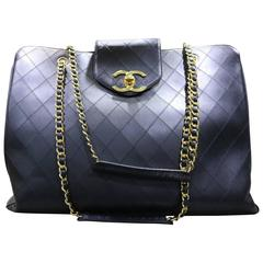 Chanel Black Classic Quilted Lambskin Overnight Bag
