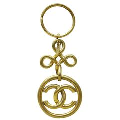 "Chanel Gold Toned ""CC"" Key Ring"