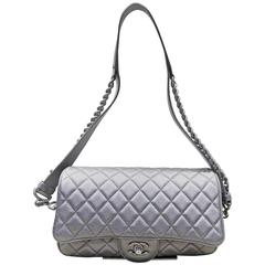 Chanel Grey Metallic Matelasse Quilted Leather Double Chain Shoulder Flap Bag