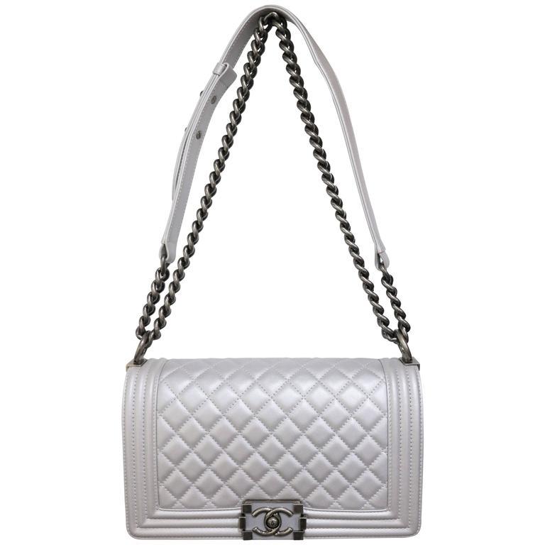 abea8c273a31 Chanel Silver Metallic Calfskin Quilted Medium Boy Flap Bag at 1stdibs