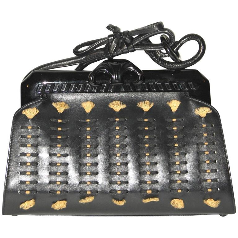 John Galliano Christian Dior Black samouraï 1947 Snake Motif Handle Strap Clutch