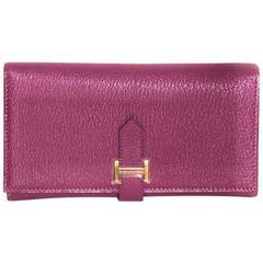 "Hermes Purple ""BEARN"" Wallet Iconic H Logo Tab Closure - Brand-New"