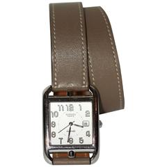 Hermes Cape Cod GM Watch Etaupe Double-loop Leather Strap - 4 EXTRA bracelets