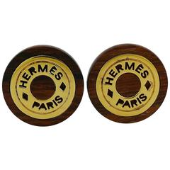 Hermes Vintage Wood and Gold Plated Clip-On Earrings