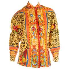 Versus Gianni Versace Angel Leopard Print Shirt