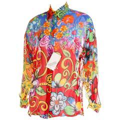 Versus Gianni Versace 90s Tropical Floral Print Shirt