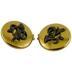 Hermes Vintage Classic Gold Toned Button Clip-On Earrings