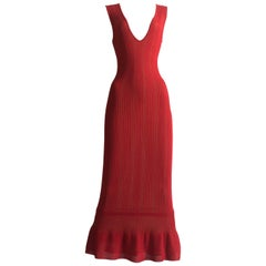 Alaia red ribbed knit fishtail evening dress, circa 1990s